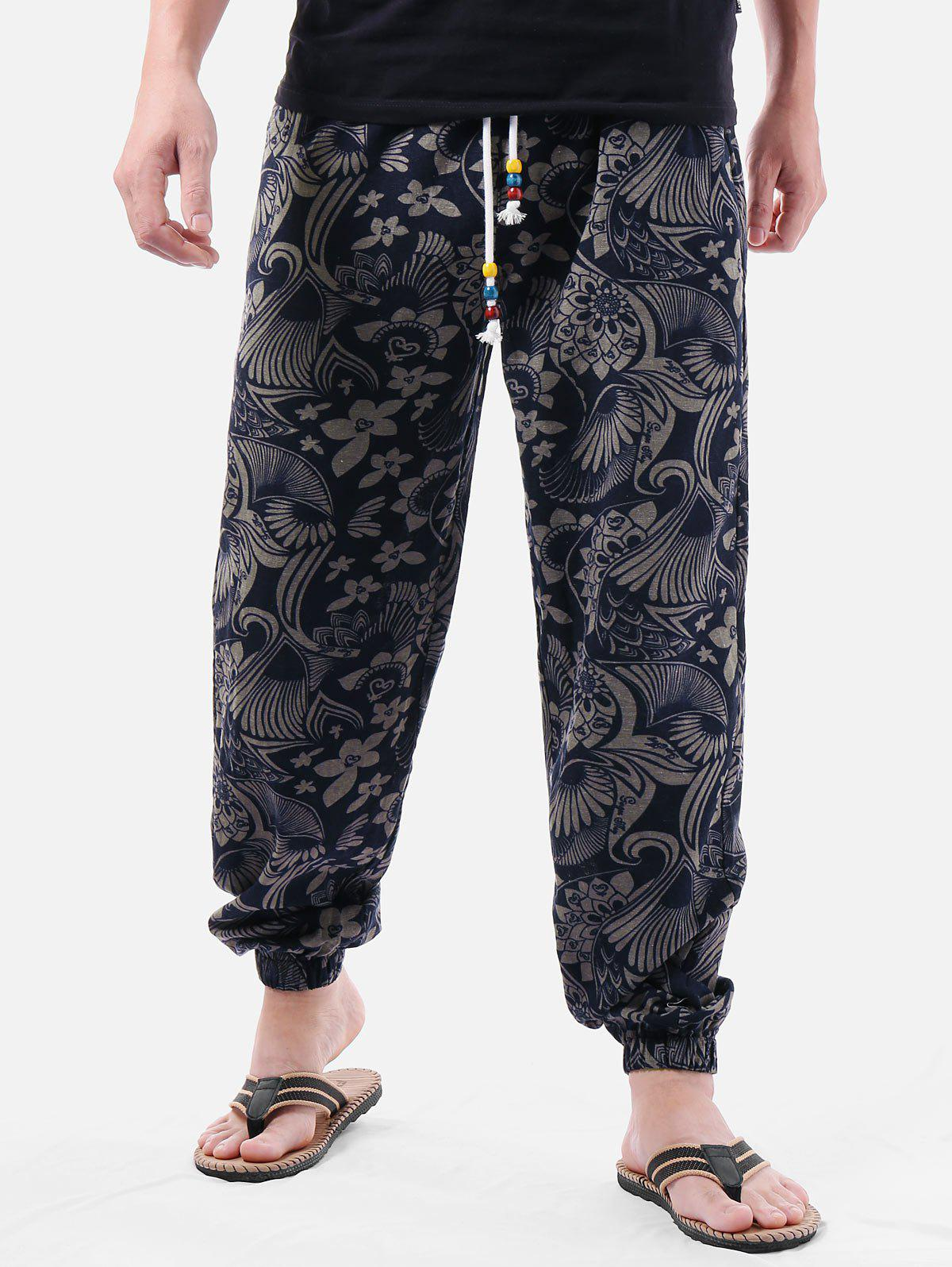 Outfits Ethnic Flower Print Drawstring Pants