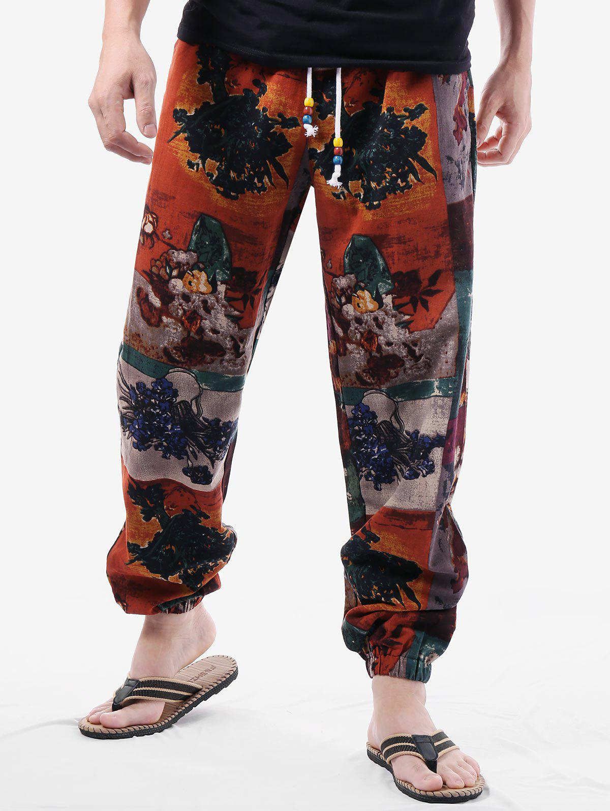 Shop Patchwork Sunflower Paint Drawstring Waist Pants