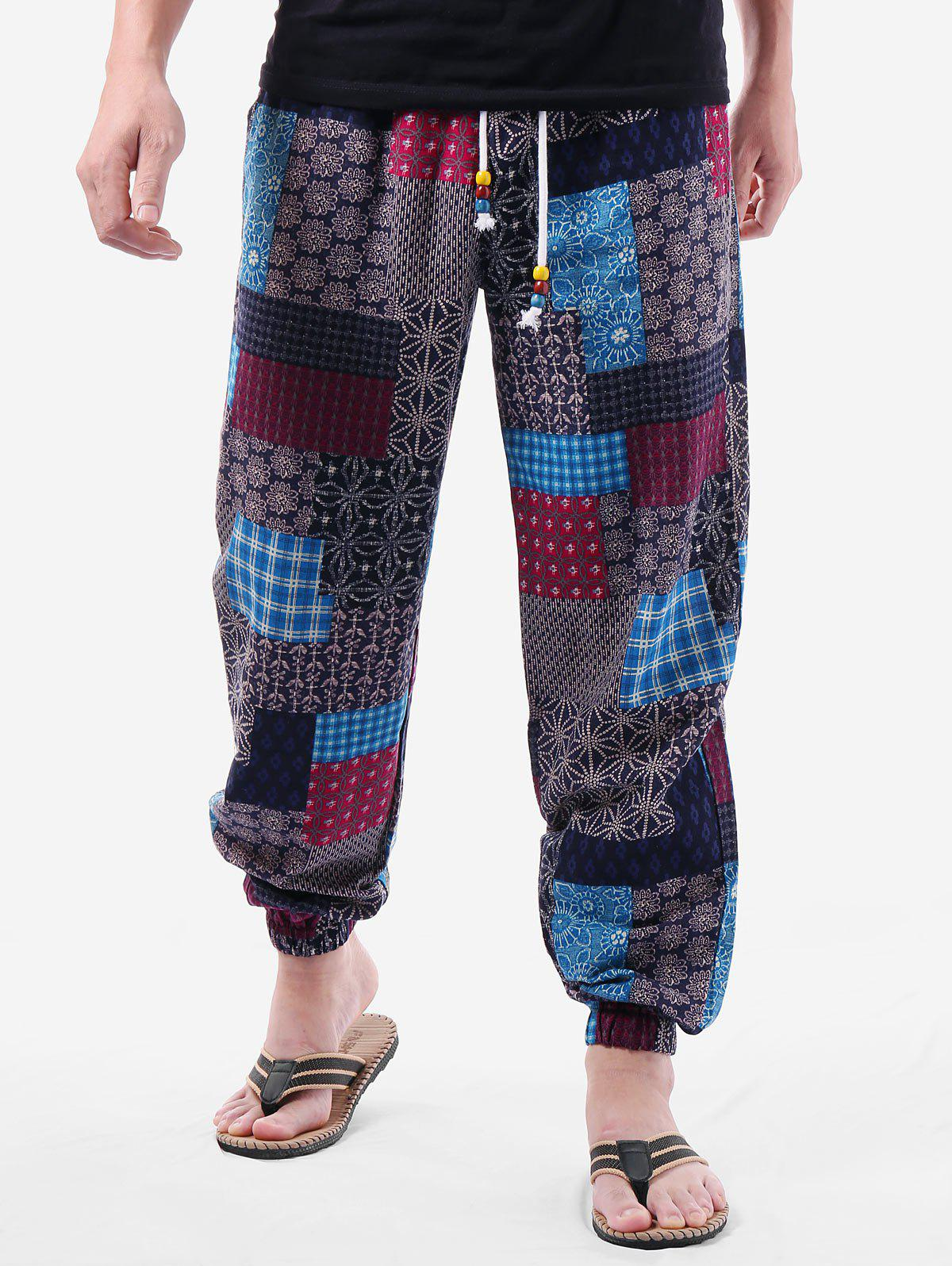 Latest Patchwork Ethnic Print Elastic Waist Pants