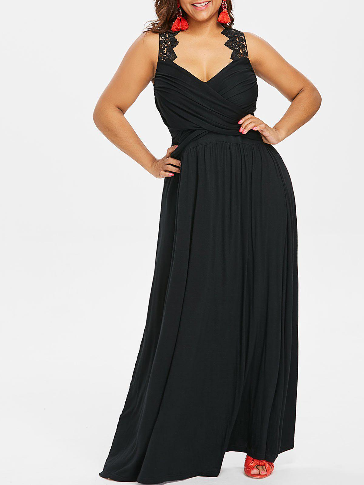 Trendy Empire Waist Plus Size Maxi Sweetheart Dress