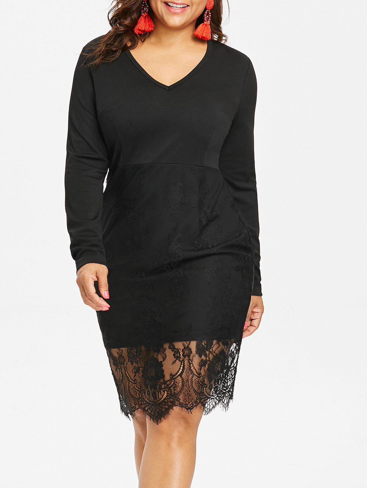 Online Plus Size Long Sleeve Lace Bodycon Dress