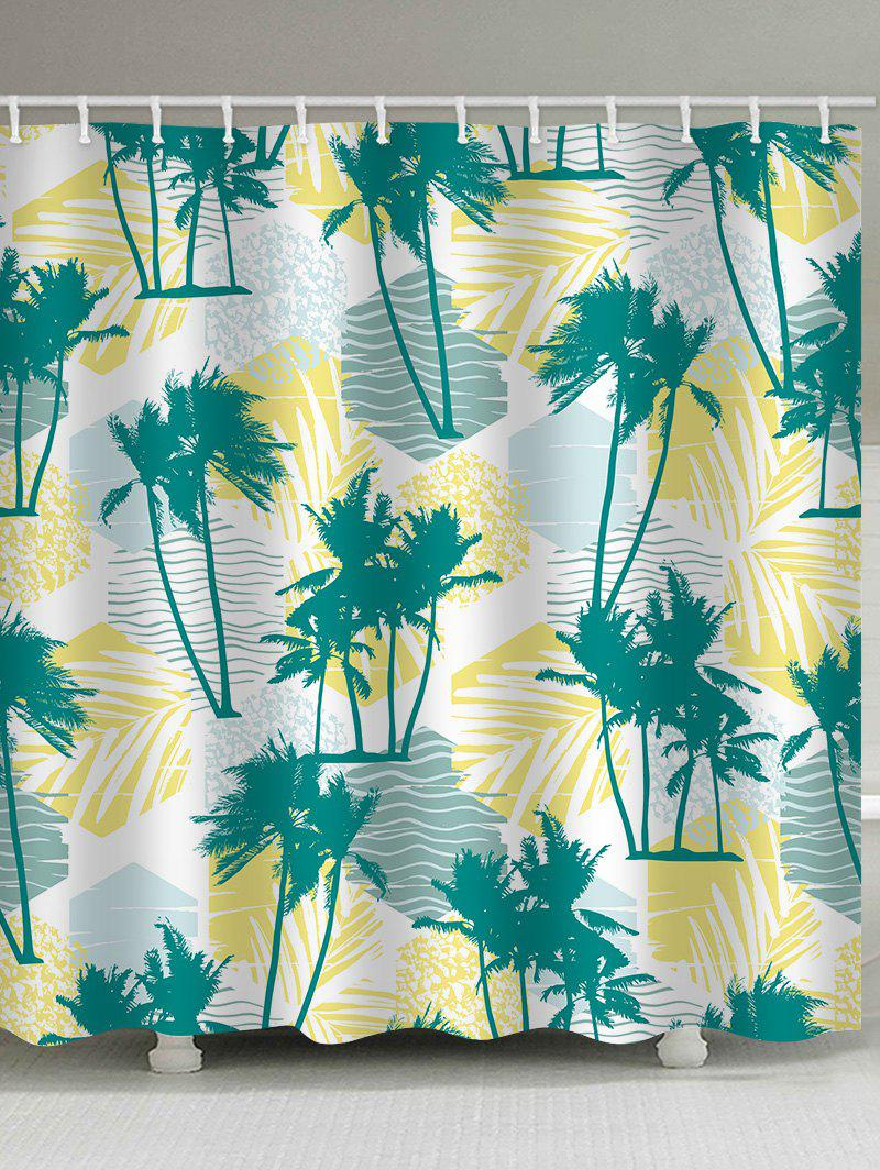 Unique Tropical Palm Trees Print Waterproof Bathroom Shower Curtain