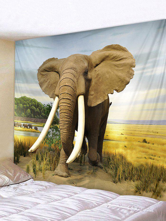 Wall Hanging Art Steppe Elephant Print Tapestry, Multi