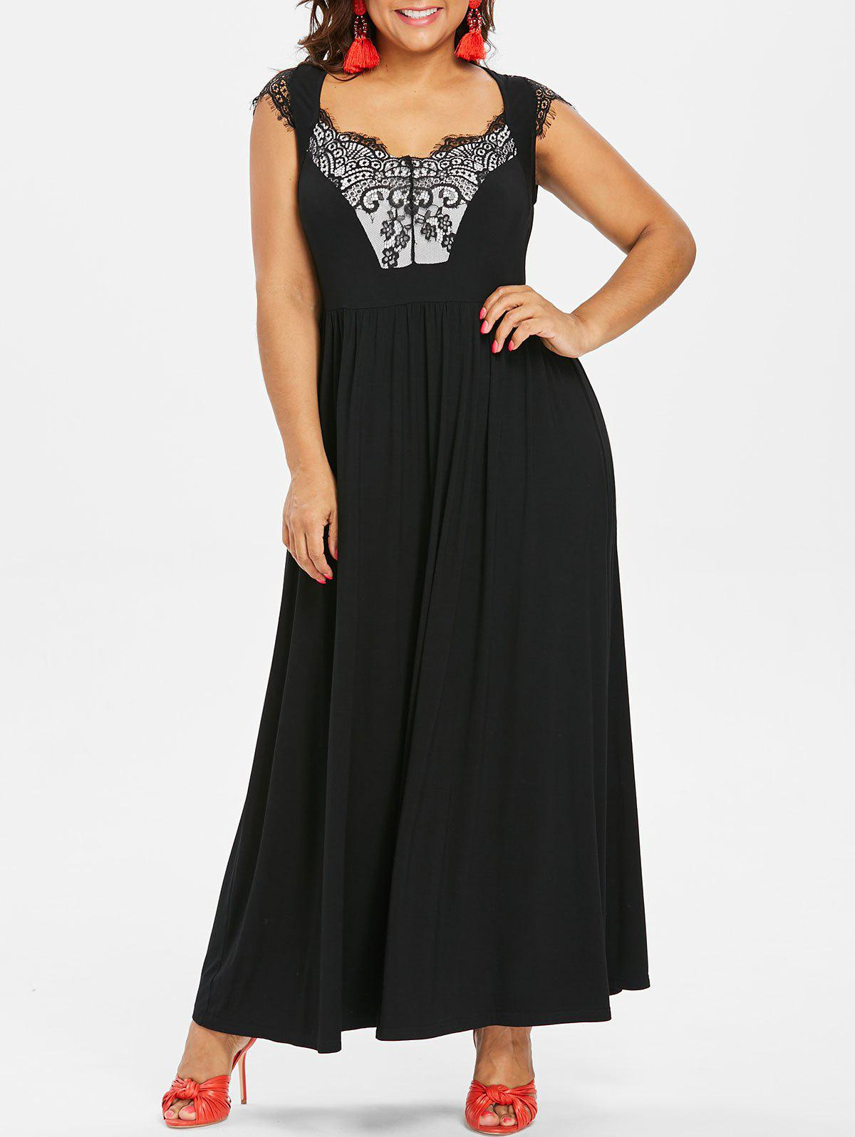 Chic Plus Size Lace Insert Maxi Dress