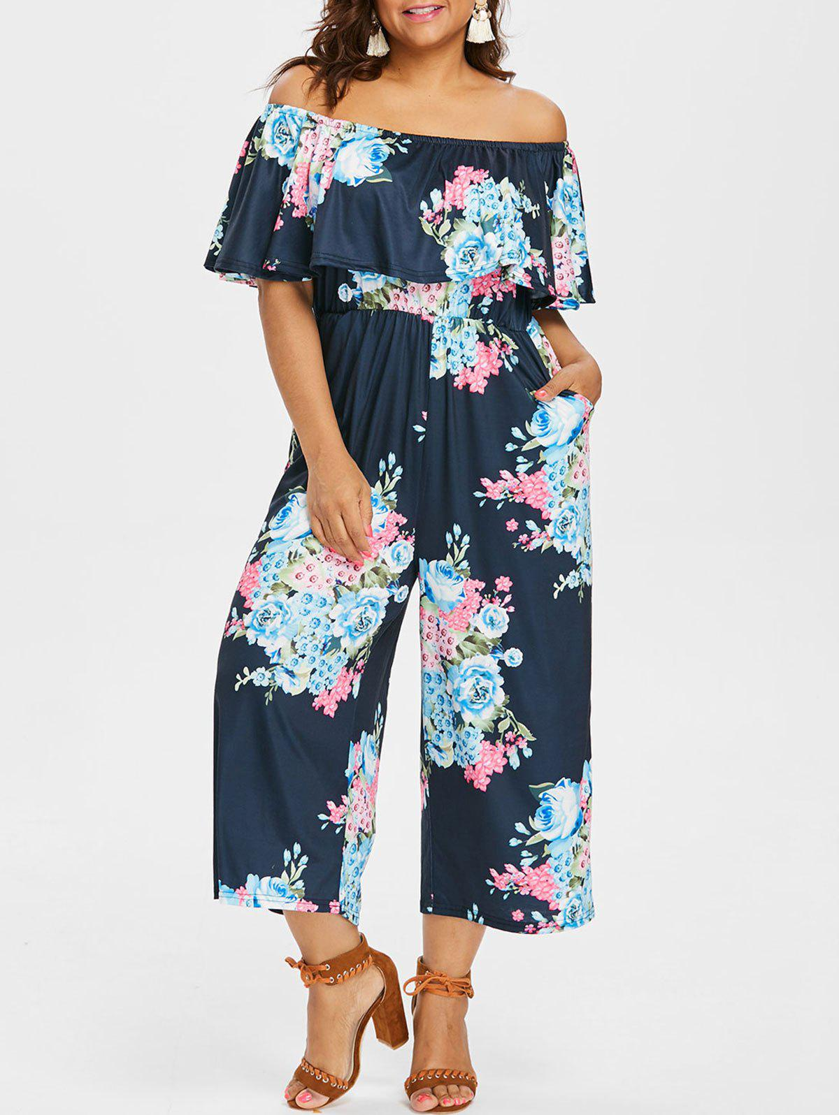 Outfits Plus Size Print Flounce Jumpsuit