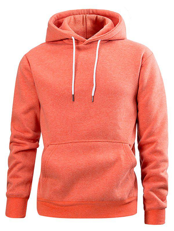 Cheap Drawstring Solid Color Casual Hoodie