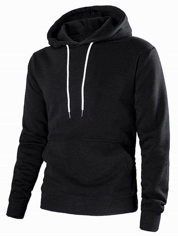 Fashion Drawstring Solid Color Casual Hoodie
