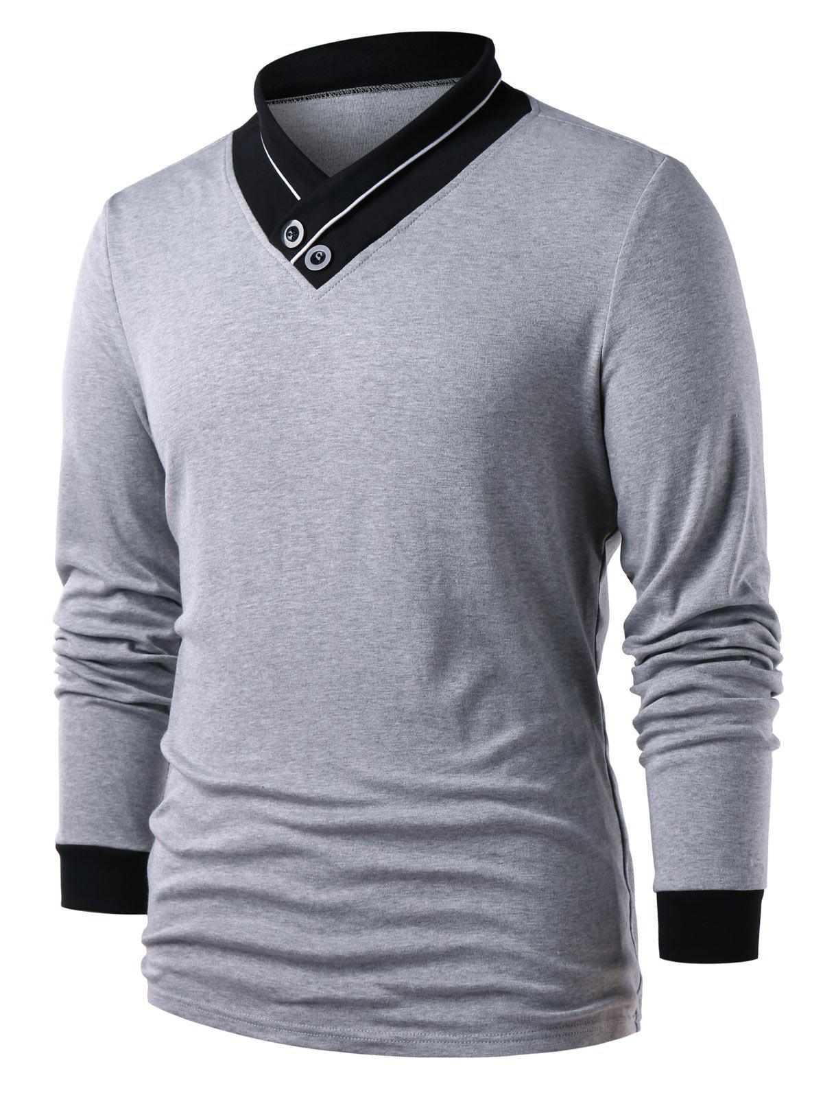 New Button Embellished Long Sleeve Color Block T-shirt