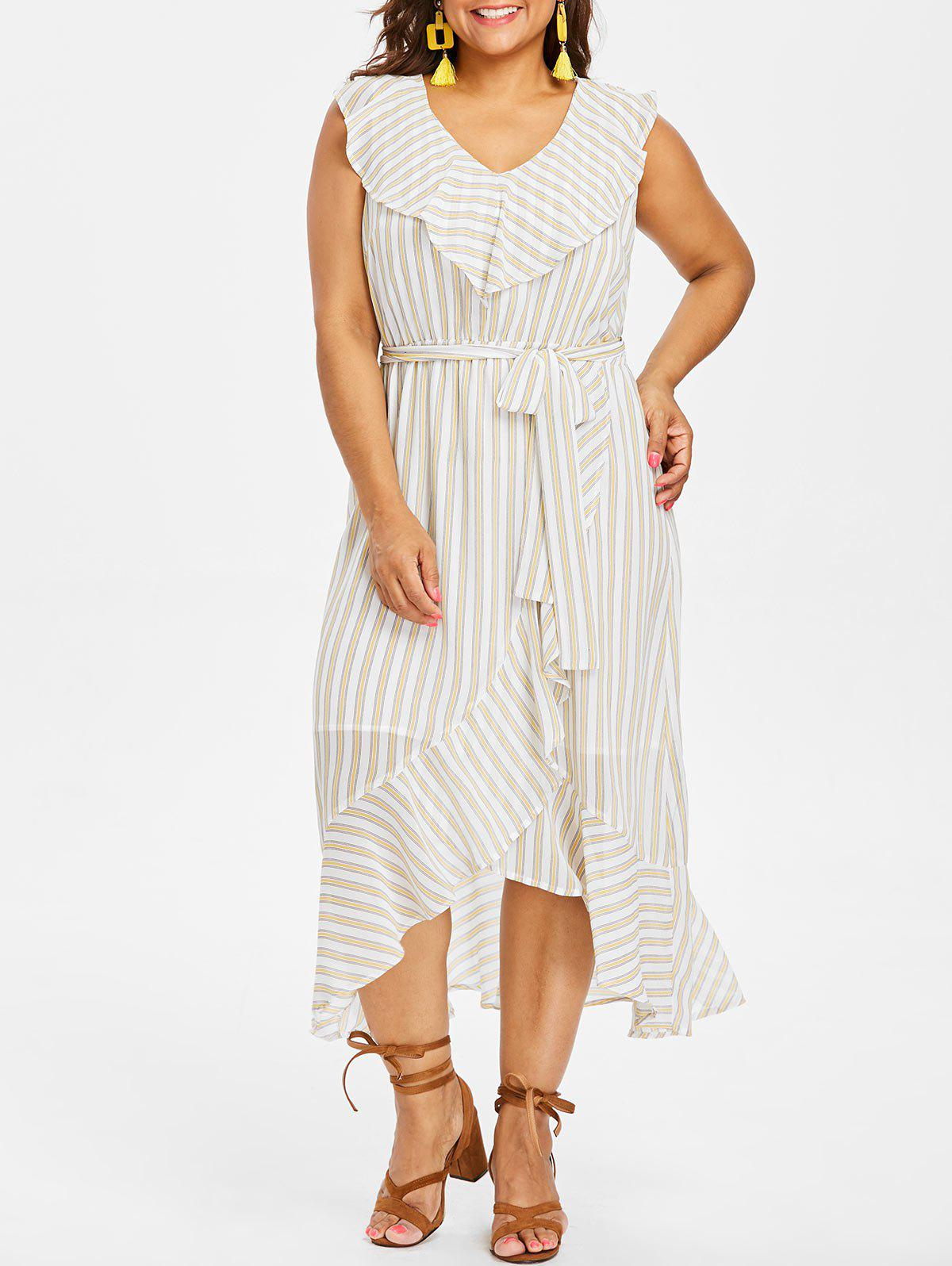 Fancy Plus Size Sleeveless Striped Overlap Dress