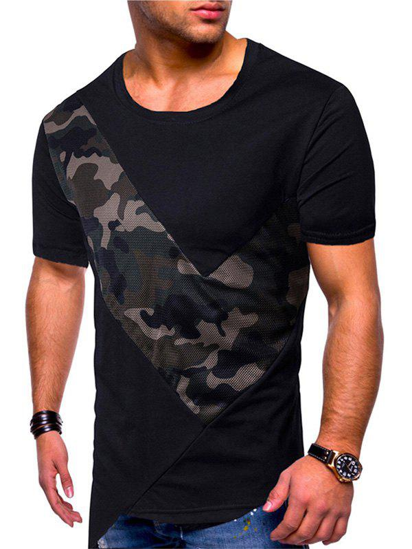 Sale Camouflage Mesh Patch Irregular Hem T-shirt