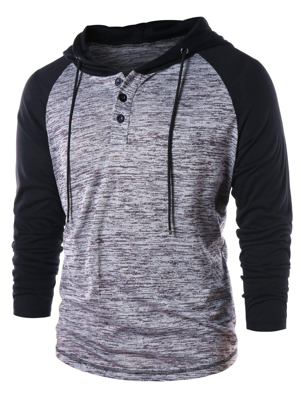 Fancy Raglan Sleeve Color Block Hoodie