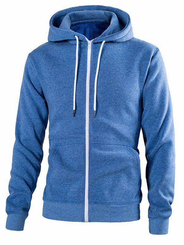Outfit Pouch Pocket Zip Up Solid Color Hoodie