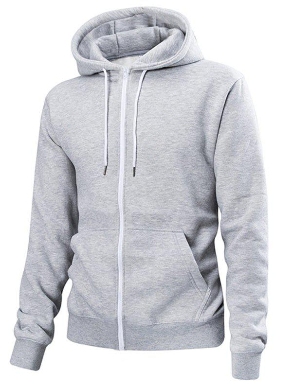Chic Pouch Pocket Zip Up Solid Color Hoodie