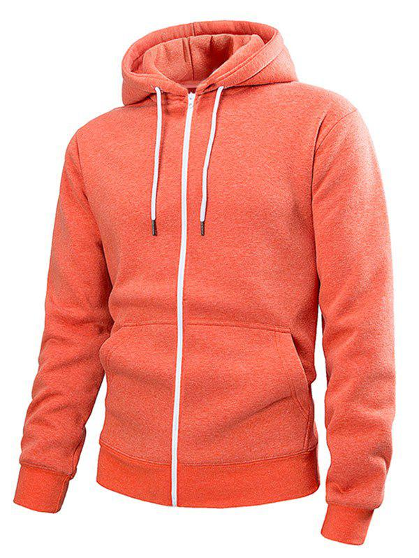 Fashion Pouch Pocket Zip Up Solid Color Hoodie