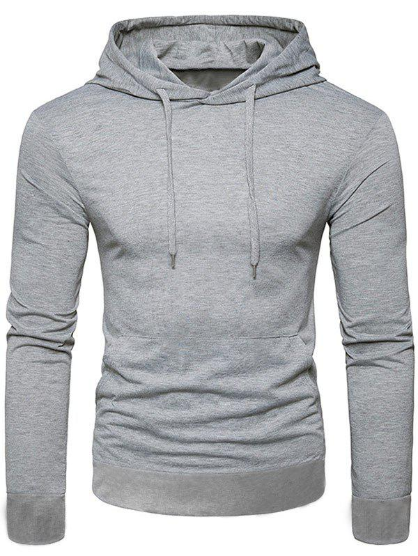 Store Casual Solid Color Kangaroo Pocket Long Sleeve Hoodie