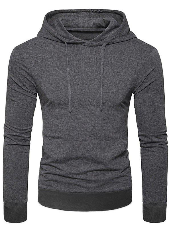 Shops Casual Solid Color Kangaroo Pocket Long Sleeve Hoodie