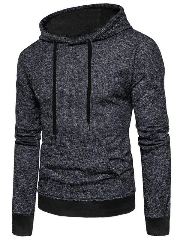 Latest Two Tone Textured Print Kangaroo Pocket Fleece Hoodie