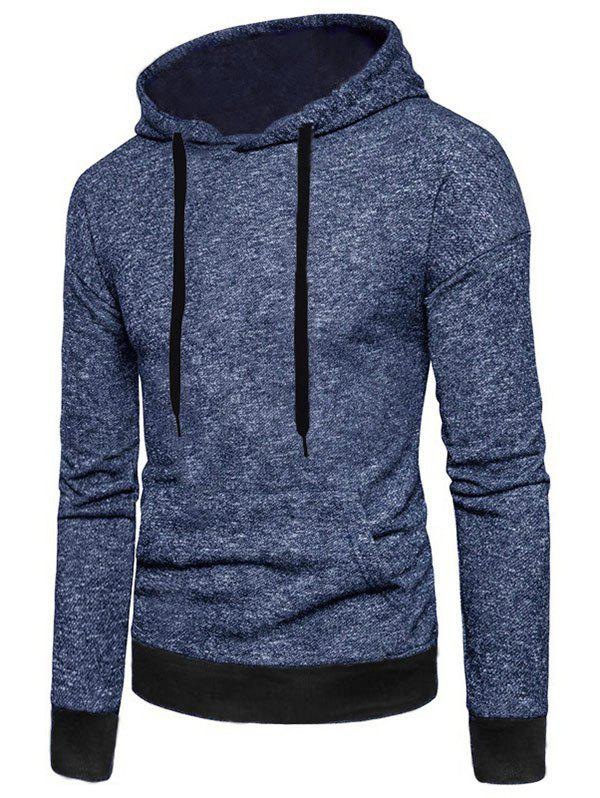 Affordable Two Tone Textured Print Kangaroo Pocket Fleece Hoodie