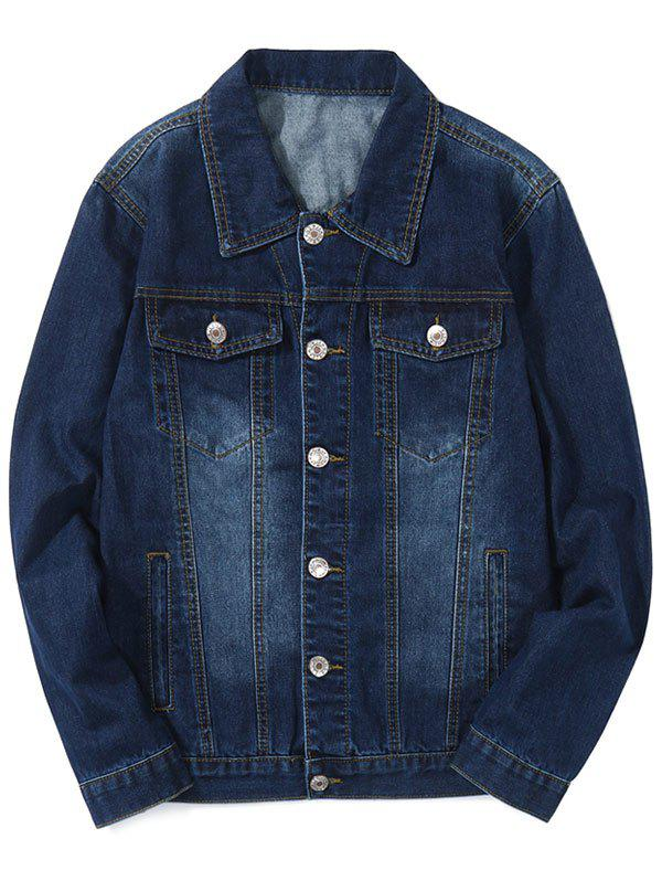 Trendy Turn Down Collar Faded Chest Pockets Jean Jacket