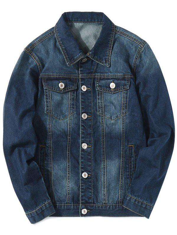 Cheap Turn Down Collar Faded Chest Pockets Jean Jacket