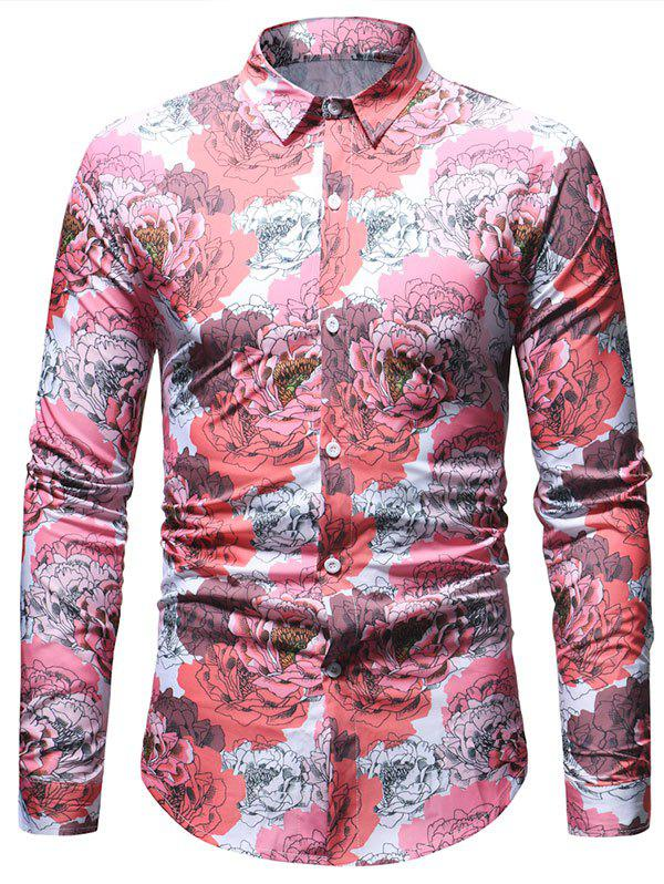 Unique Flowers Printed Long Sleeve Button Up Shirt