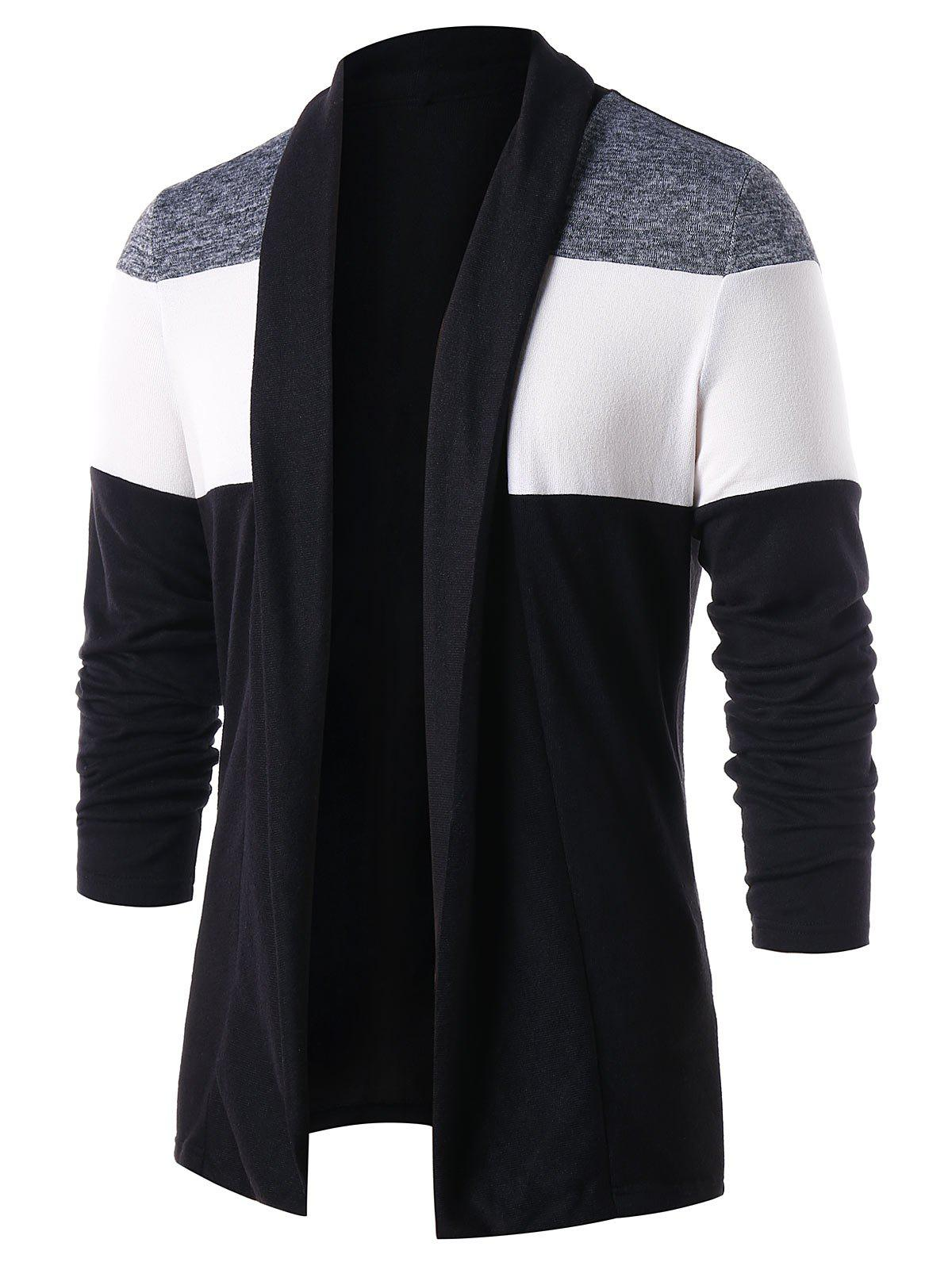 Unique Casual Color Block Open Front Cardigan