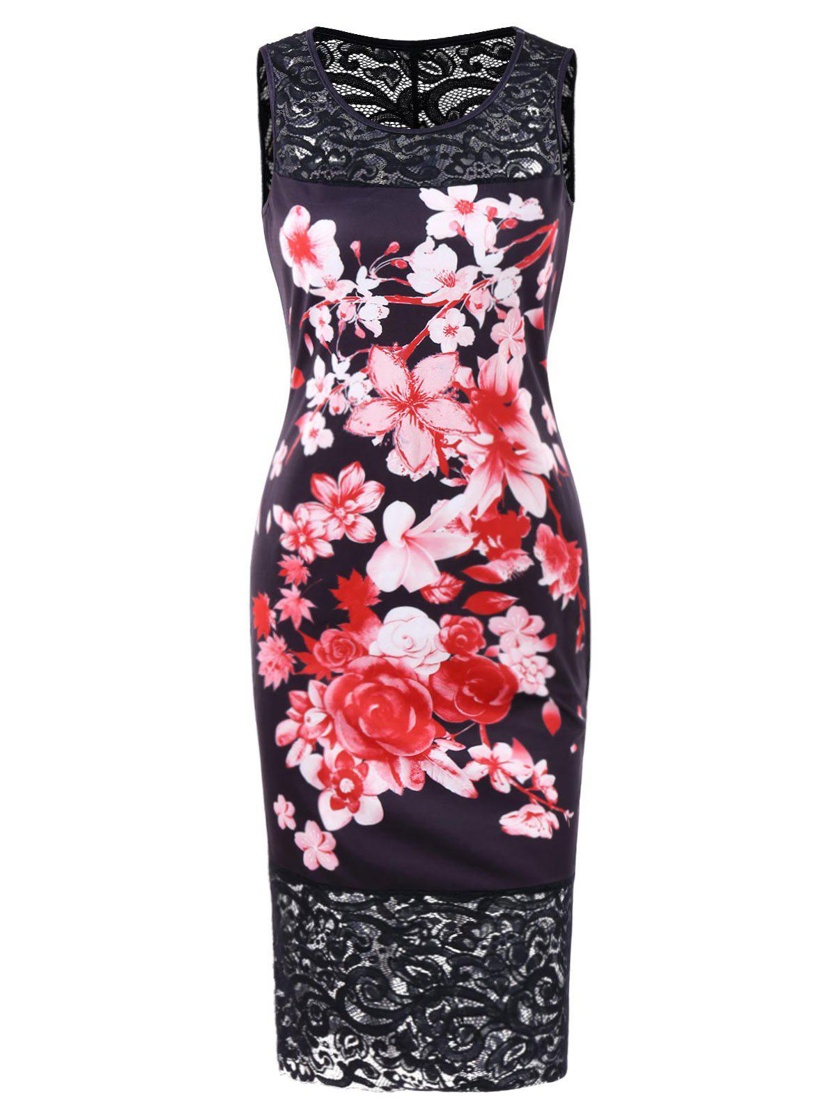257f9140ebf7 75% OFF] Floral Lace Panel Knee Length Dress | Rosegal