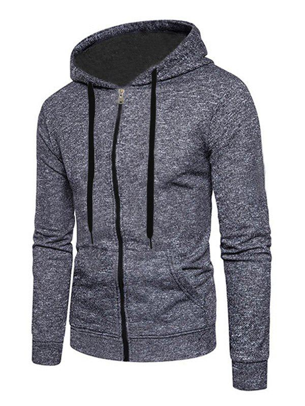 Fancy Full Zip Up Textured Print Kangaroo Pocket Fleece Hoodie