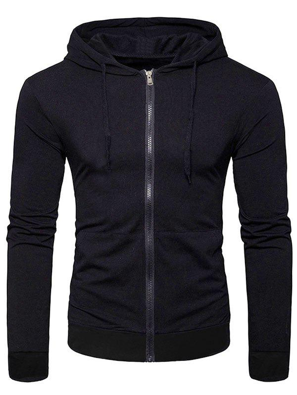 Affordable Solid Color Full Zip Up Pocket Casual Hoodie