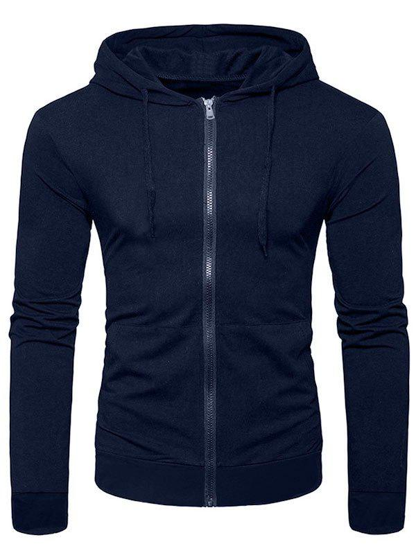 Fashion Solid Color Full Zip Up Pocket Casual Hoodie