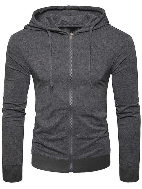 Latest Solid Color Full Zip Up Pocket Casual Hoodie