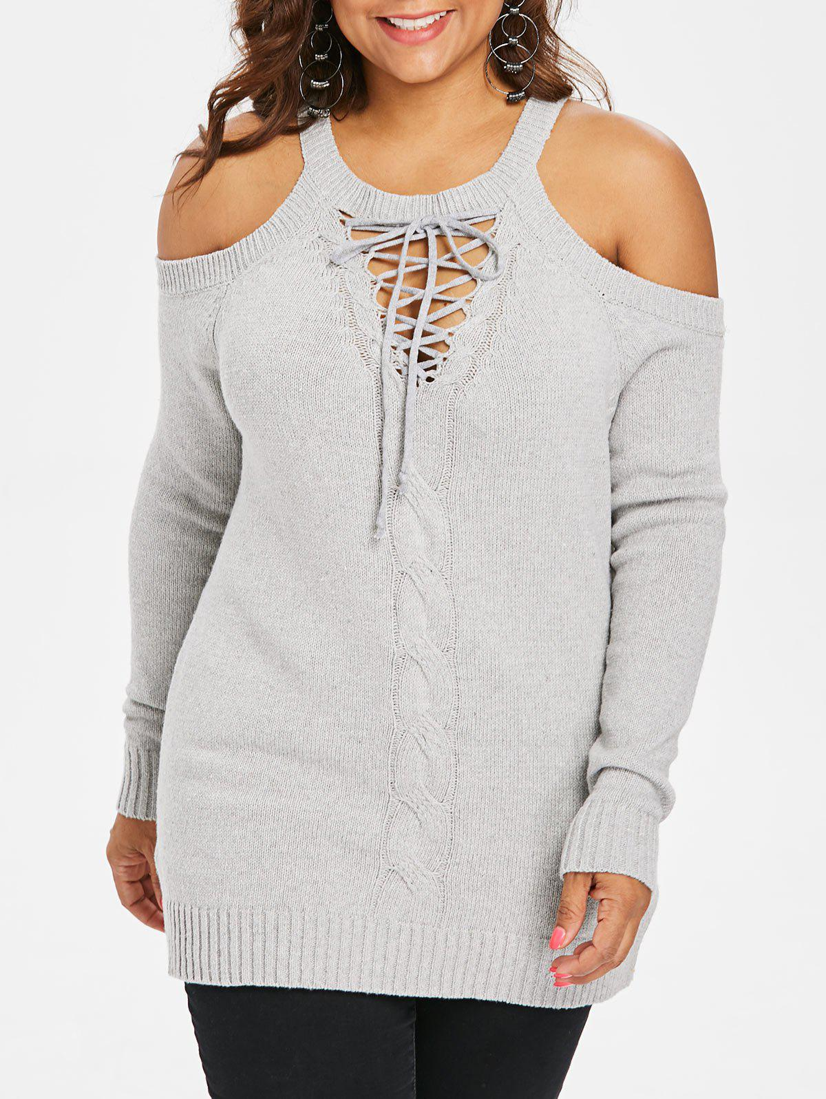 Unique Plus Size Lace Up Sweater