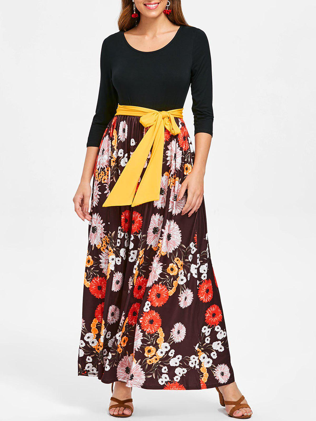 Buy Floral Print Tie Belt Maxi Dress