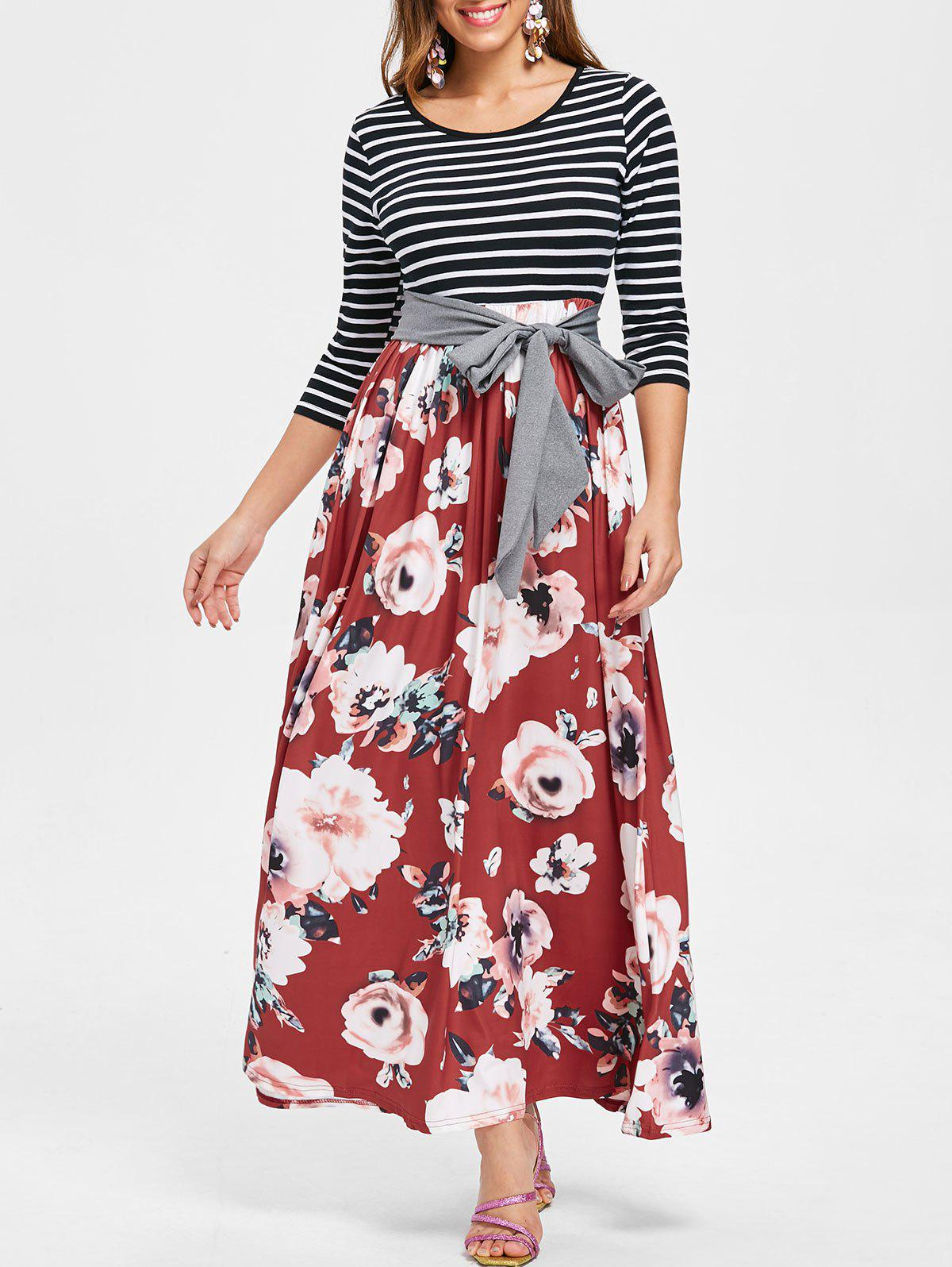 Hot Floral Print Striped Panel Maxi Dress