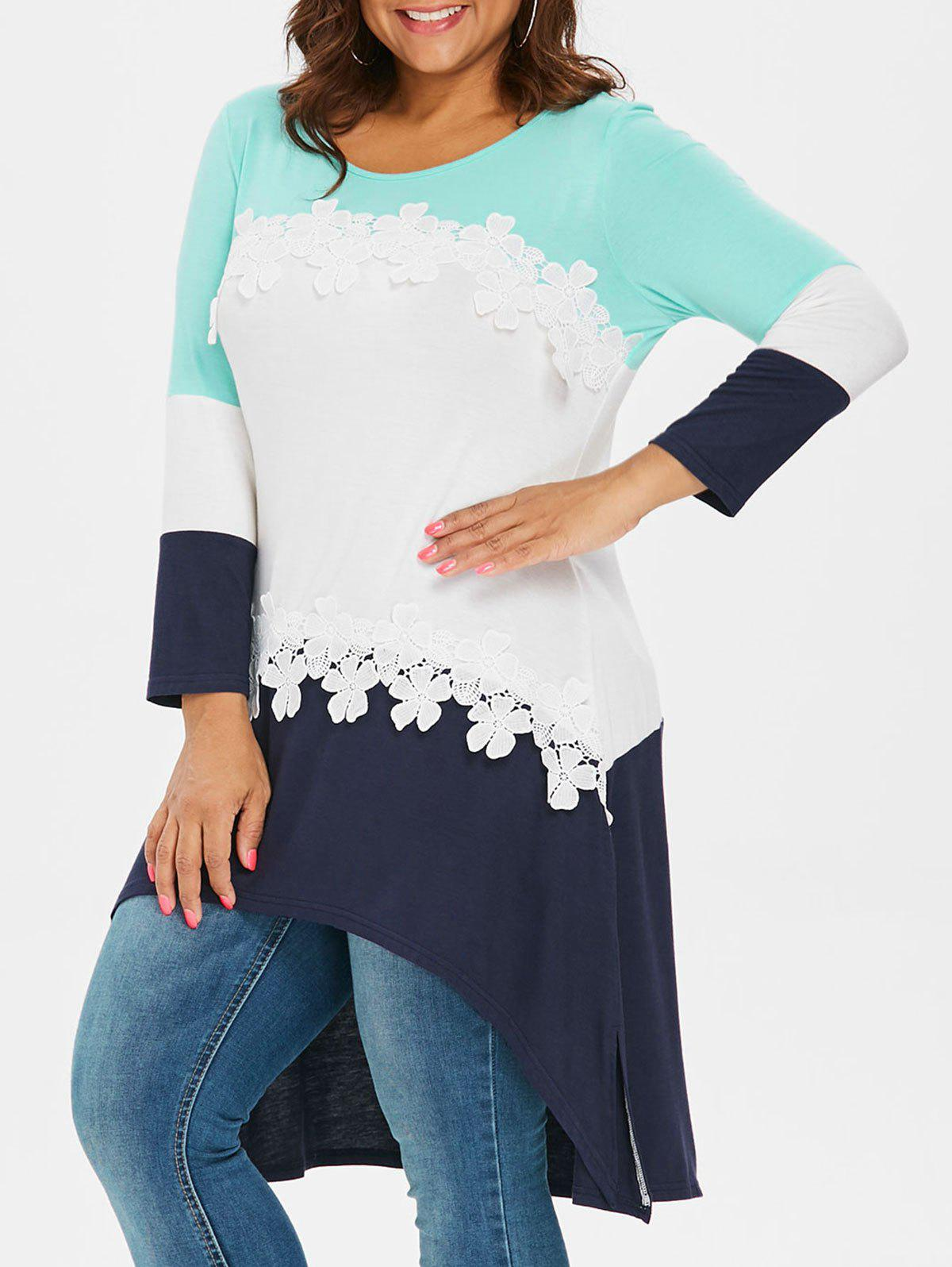 Discount Color Block Plus Size Applique High Low T-shirt