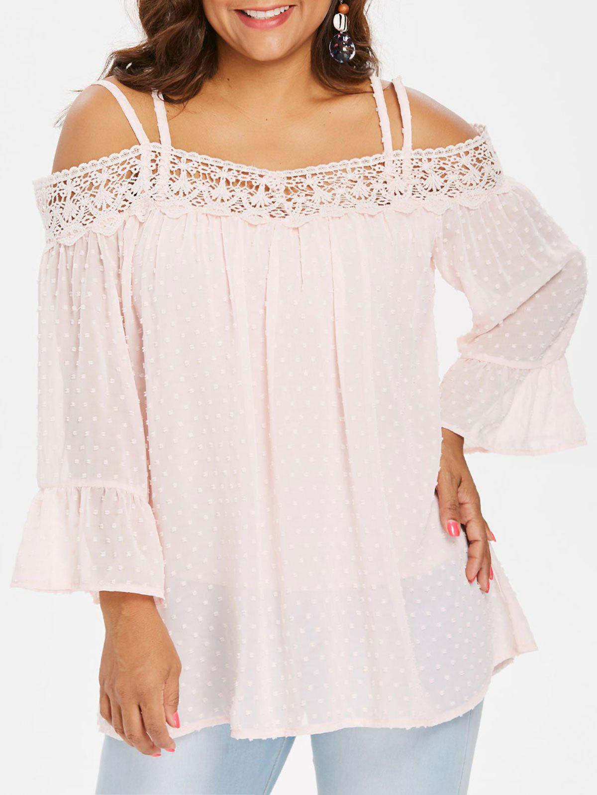 Bell Sleeve Lace Panel Plus Size Blouse фото