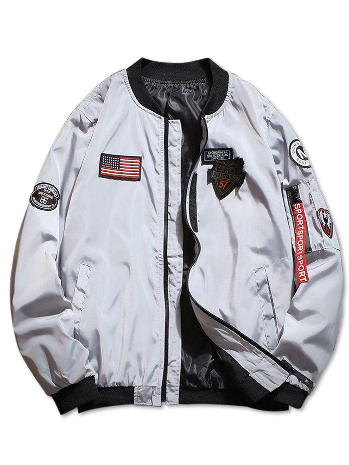 Outfit Zip Up American Flag Applique Casual Jacket
