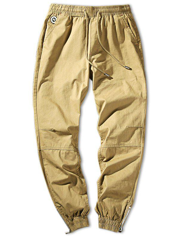 Outfits Solid Color Zip Hem Elastic Waist Jogger Pants