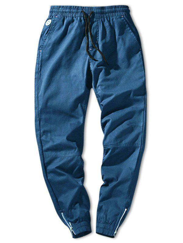 Cheap Solid Color Zip Hem Elastic Waist Jogger Pants