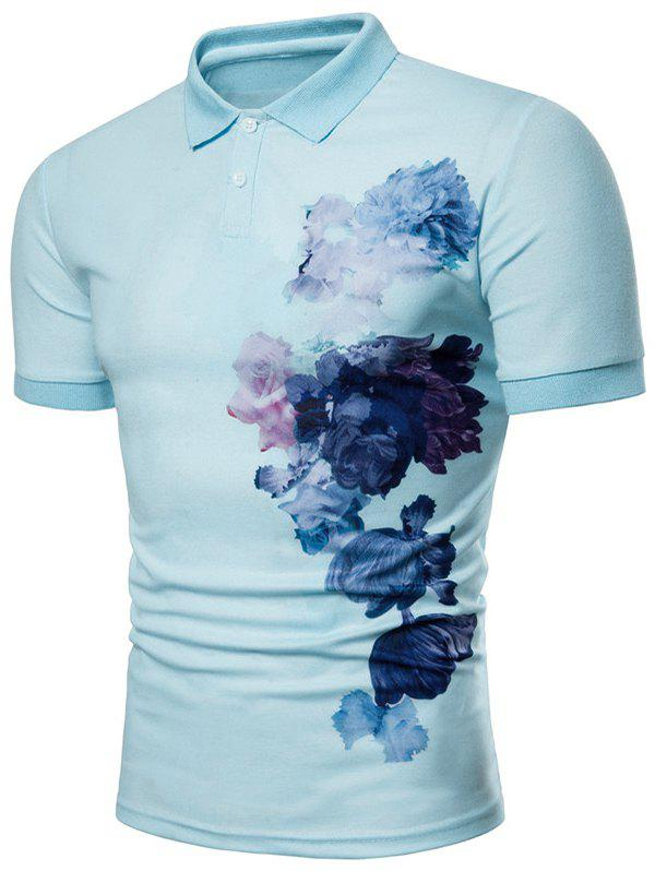 Unique Side Flowers Painting Print Casual Polo Shirt