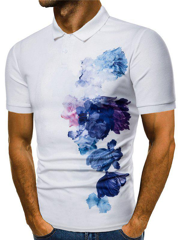 Fancy Side Flowers Painting Print Casual Polo Shirt