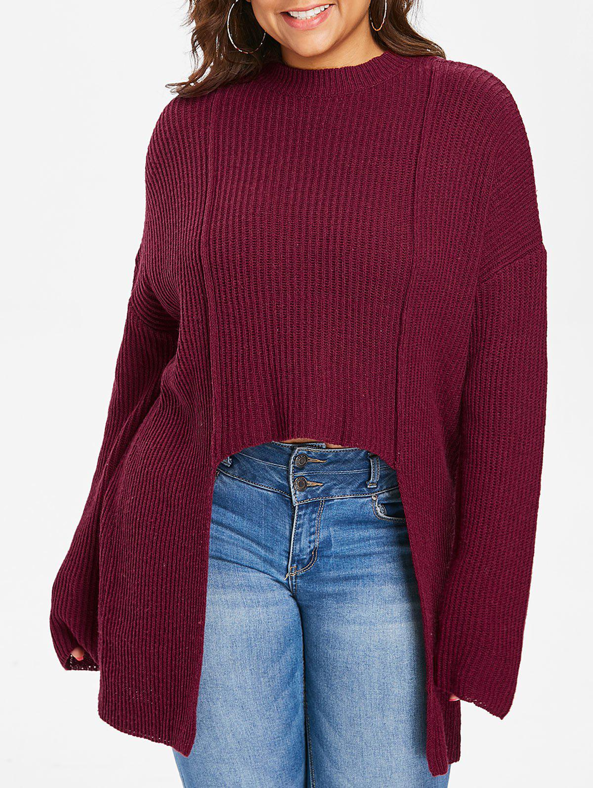 Cheap Plus Size Crew Neck High Low Sweater