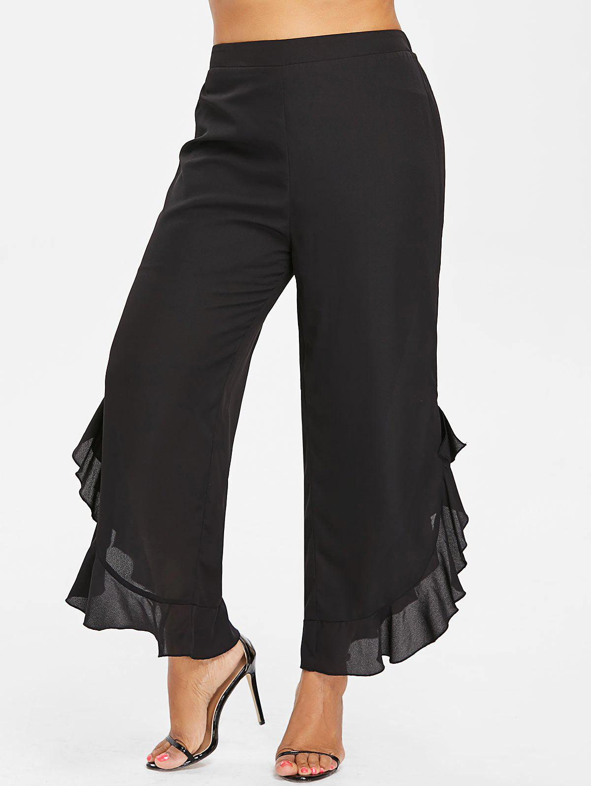 Shop Plus Size Ruffle Slit Side Wide Leg Pants