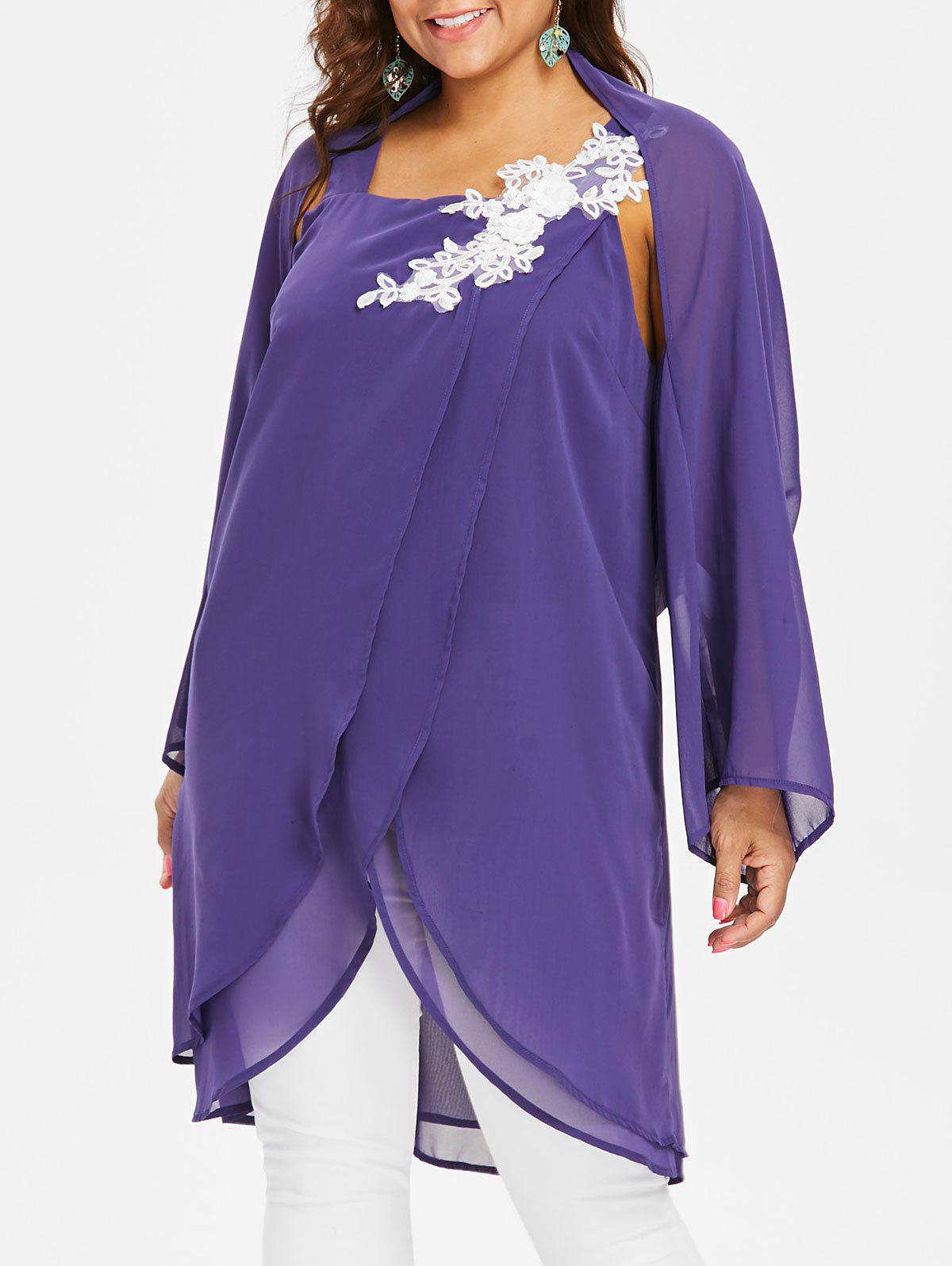 Latest Plus Size Square Neck Blouse With Long Sleeve Cape