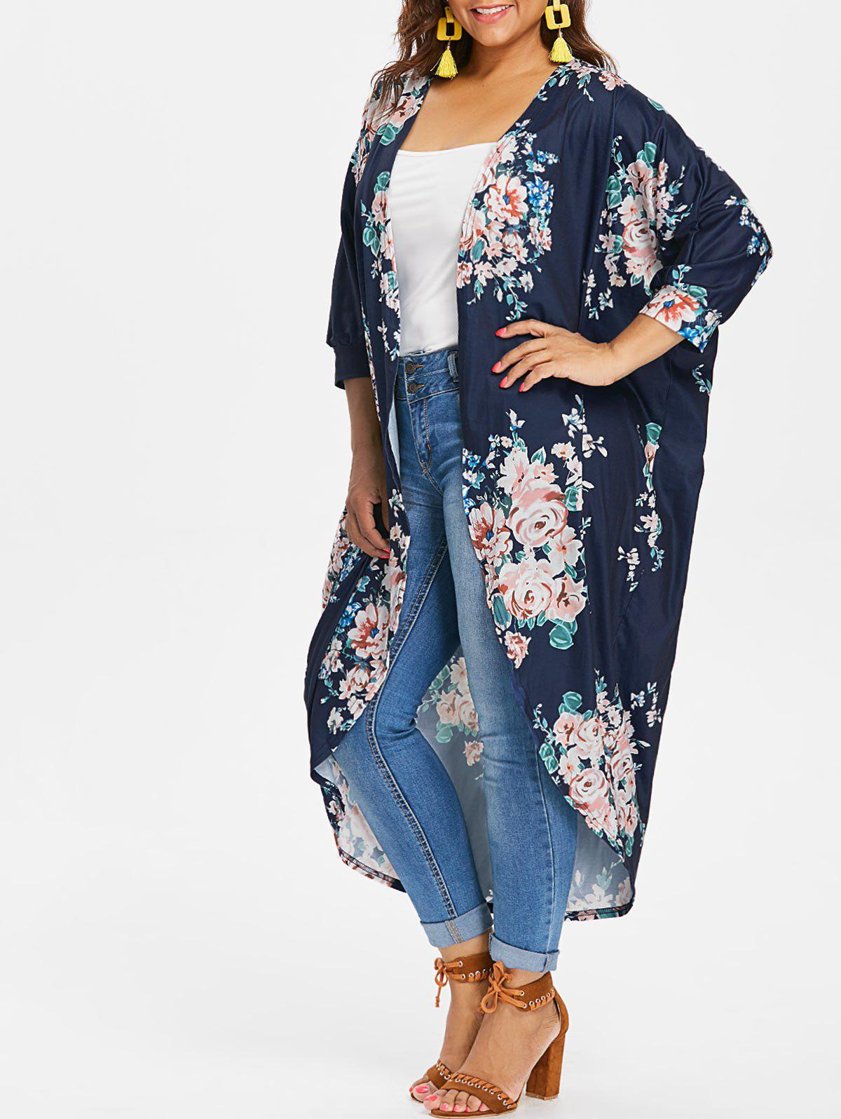 Unique Plus Size Longline Floral Coat