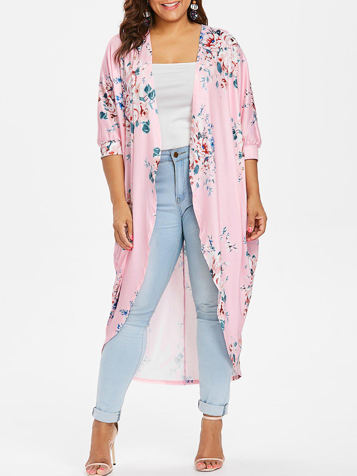Fancy Plus Size Longline Floral Coat