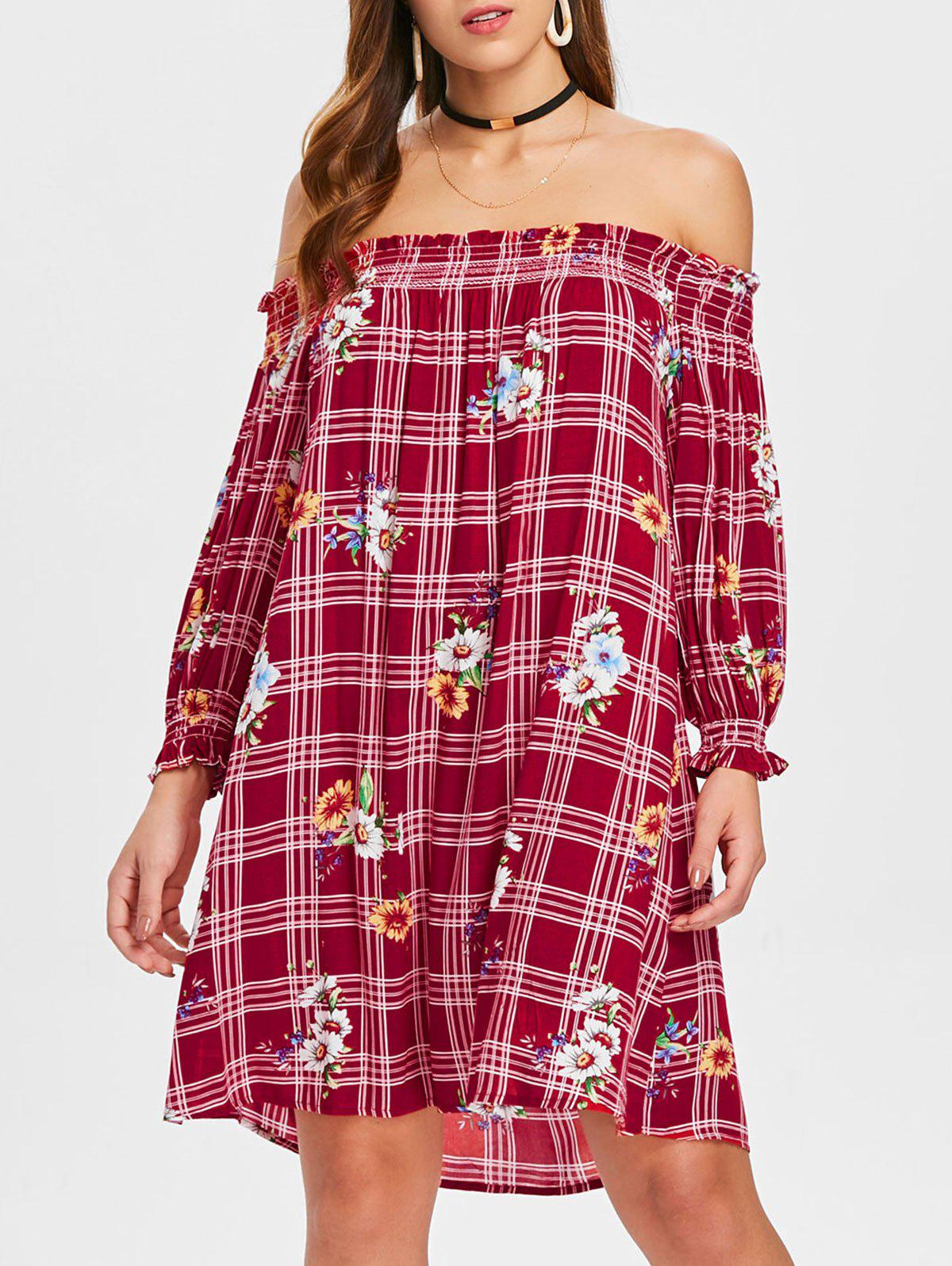 Trendy Floral Plaid Print Off The Shoulder Dress