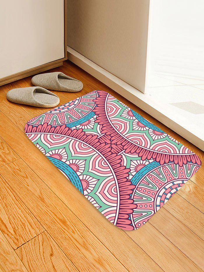 New Cartoon Flower Print Coral Fleece Floor Mat