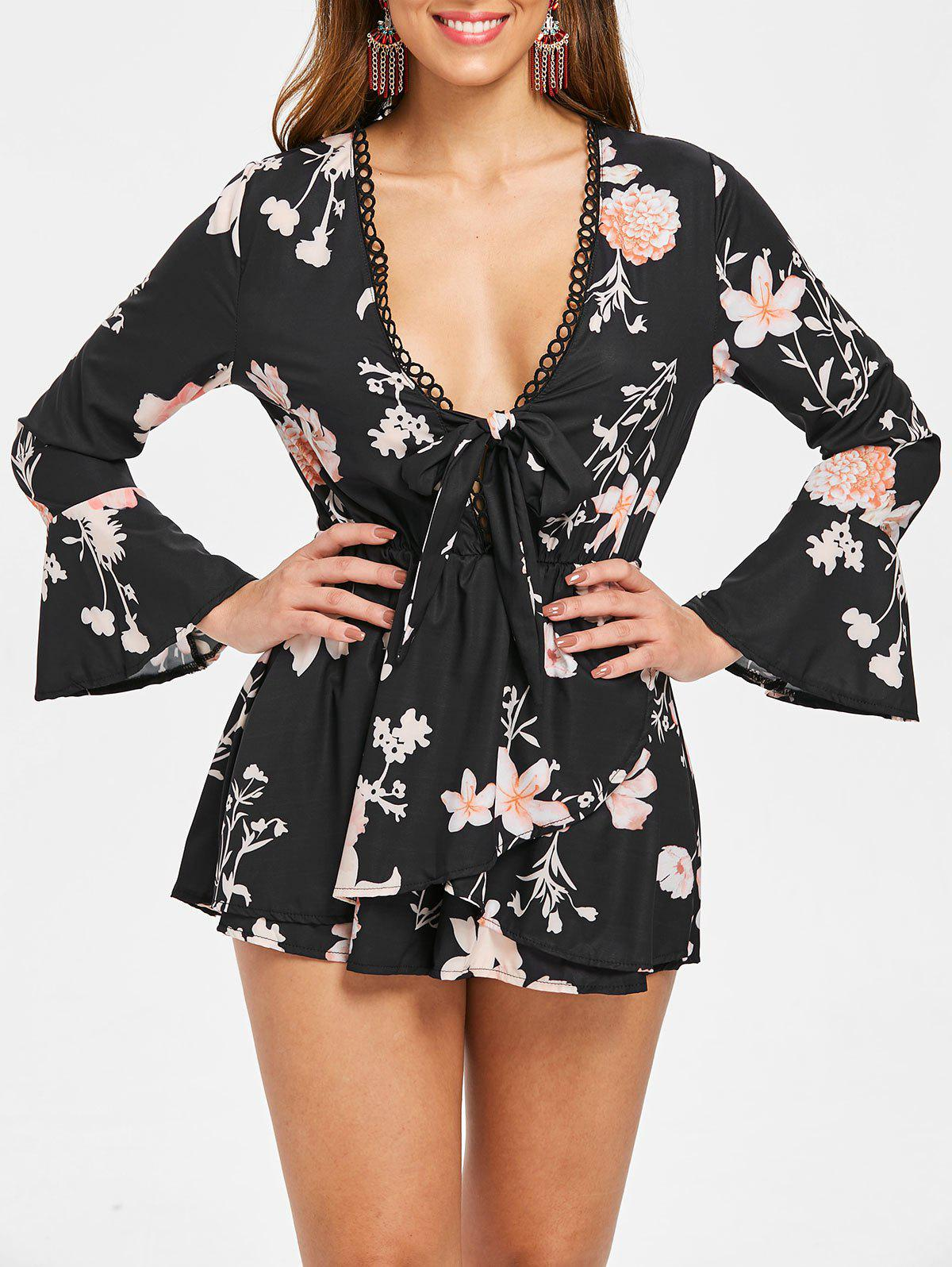 Chic Flare Sleeve Floral Print Romper