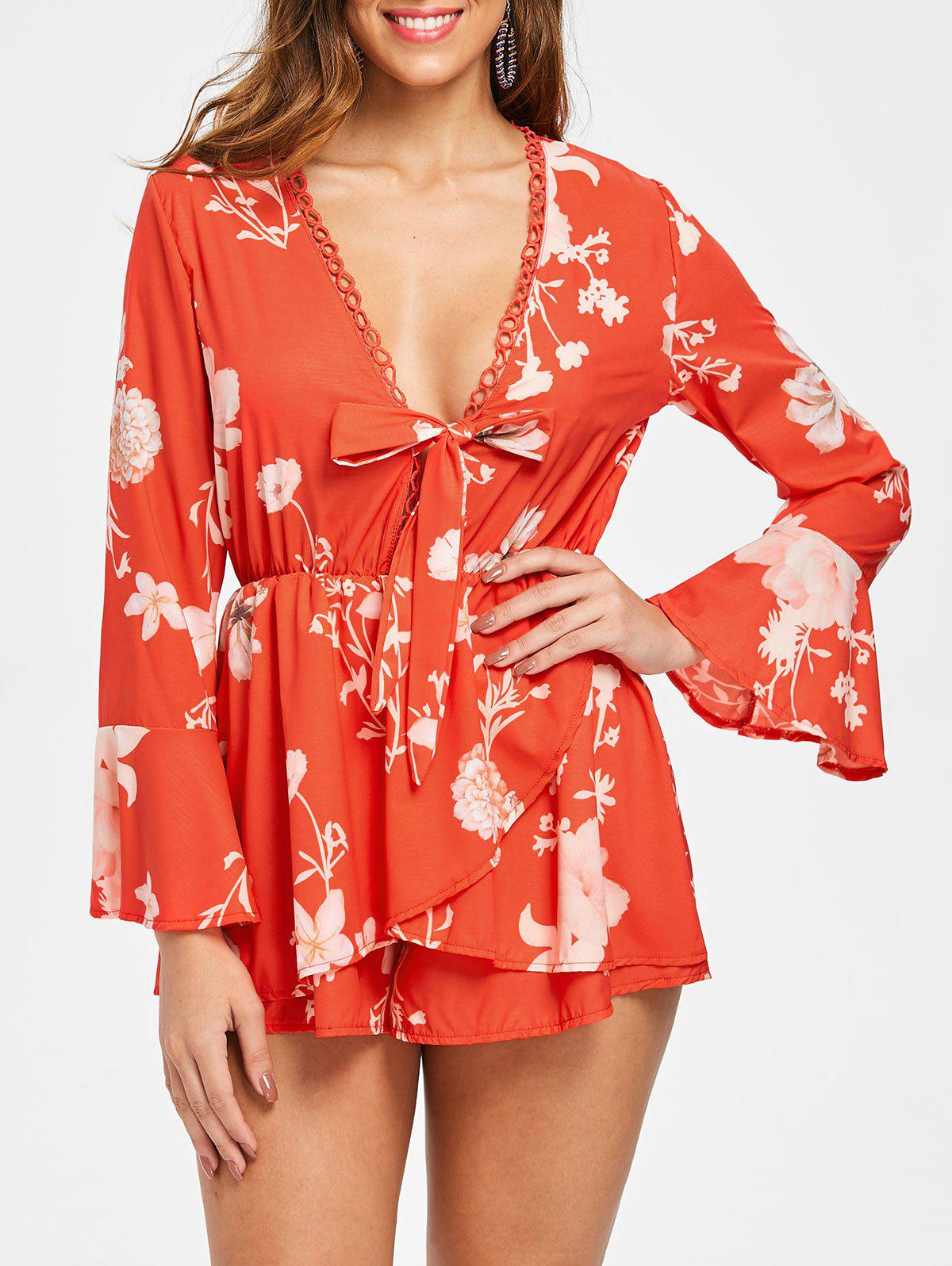 Affordable Flare Sleeve Floral Print Romper